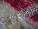 white embroidered beaded sequins organza trim 1 3/16 inch wide
