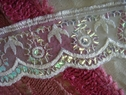 white embroidered sequin scalloped lace trim 2 7/8 inch wide