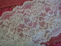 White Floral Double Scalloped Stretch Lace 5 7/8 W