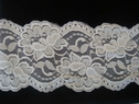 White Floral Scalloped Stretch Lace Trim 3 3/4 W S 7-4