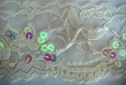 Off White Floral Scalloped Stretch Lace Trim w/ Clear Iridescent Beaded Bugles and Sequins 2 1/4 W
