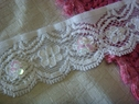 White Stretch Beaded Sequins bugle Scalloped Lace Trim 1 3/8 W
