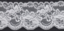 White Stretch Lace Trim Scalloped Floral Design 3 W S-7-6