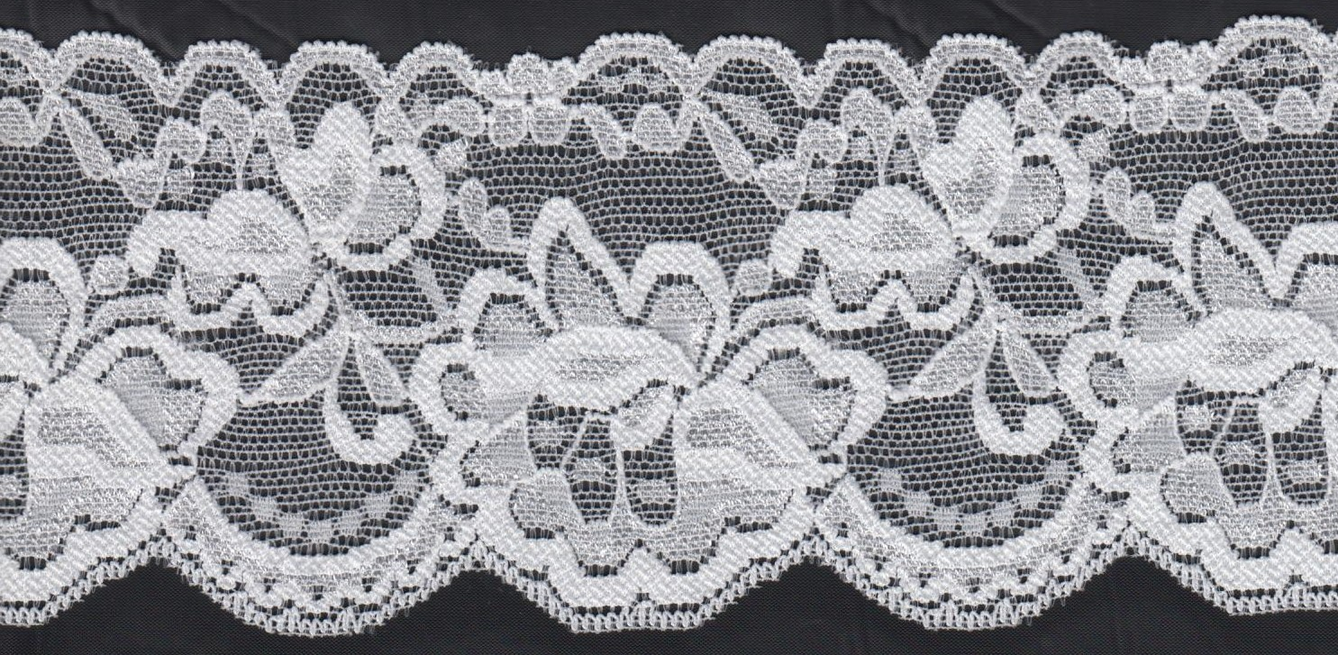 1y White Stretch Lace Trim Scalloped Floral Design 3 W S 7 6