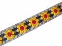 Yellow sunflower red black white checkered jacquard ribbon 3/4 inch wide