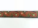 Jaquard paisley ribbon black forest green rusted orange trim 3/4  w