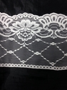 white  or black floral poly lace wide trim 6 1/4 in L 6-5