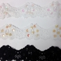 White / Black Sequin Floral Stretch Lace Trim 2 1/4 inch