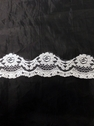 white floral poly lace trim 2 in L8-1a