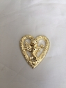 2 heart w/ angel acrylic flat back decoration gold 1.75