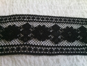 wholesale  black 3 D  poly lace trim with floral design 2 inch L 5-1