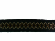 Triple Tone Embroidered Gimp Trim Black, Beige, Light Brown 1 1/8 W