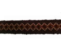 Triple Tone Embroidered Gimp Trim Brown, Beige, Light Brown 1 1/8 W