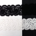 Stretch Lace Black White Stretch trim Floral Design 1 5/8 S 5-5