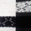 Stretch Lace Black White Stretch trim Floral Design 2 3/8 in Wide