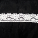 Stretch Lace White Stretch trim Floral Design 1 3/8 in Wide S 3-6