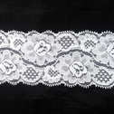Stretch Lace White Stretch trim Floral Design 2 1/2 in Wide S5-1