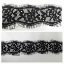 Black double scalloped eyelash lace trim 2 inches wide.