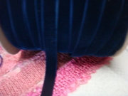 Navy blue color velvet ribbon trim. 9/16 w