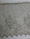 3 yards taupe double scalloped embroidered   stretch eyelash trim 11 1/2 inch wide.