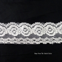 100 Yard Off White Rose Design Stretch Lace Scallop Trim 1 1/4  SHIPS FROM USA