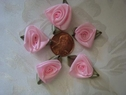 36 pieces pink rose flower leaves