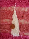 4 Pcs White Fringe Tassel Applique 1/4 W