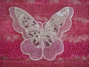 4 pieces white organza butterfly silver  sequins  applique