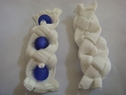 4 white Braided with 3 Royal Blue beads applique 1 1/4 w 3 5/8 L B8