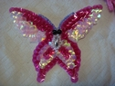 4pc fuchsia off white iridescent sequins beaded butterfly iron on applique