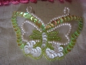 4pc lime iridescent sequins beaded butterfly iron-on applique