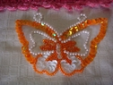 1 orange iridescent sequins beaded butterfly iron-on applique