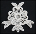 White Flower Shaped sew on Applique 1 1/4 W C 18