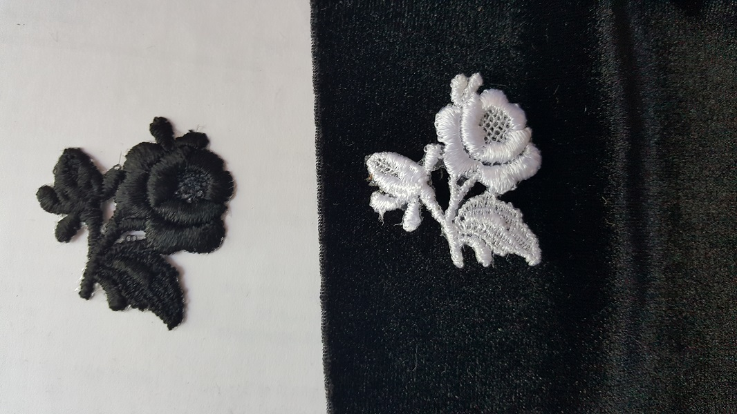 White or black rose flower shaped iron on small applique 1 5 8 x 1 1