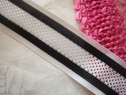 Black and white Stripe mesh elastic  Ribbon Trim 1 1/2 W