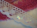 White Crochet Scalloped Lace Trim with Sequins and Pearls 1 5/8 W