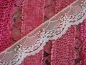 White scalloped pearls sequins lace trim 1 1/2 INCH