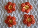 6 pcs orange yellow 3D two layer flower crochet applique 1 diam