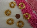6pc Beaded Gold Sequins Circle Applique