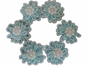 6 Pcs Baby Blue Double Layer Flower Applique Pearl 1 Inch Wide