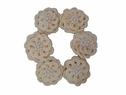 6Pcs of Ivory Double Layer Flower Applique w/ Pearls 1 W