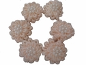 6Pcs of Peach Double Layer Flower Applique w/ Pearls 1 W