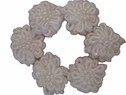 6Pcs of White Double Layer Flower Applique w/ Pearls 1 W