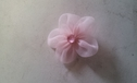 6pcs pink organza rose applique w/ rhinestone 1 3/8 inch wide