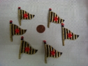 6pcs Red Starred Flag Iron On Applique Trim Blue Gold