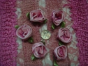 6pcs three tone pink satin wire ribbon rose w/ leaf