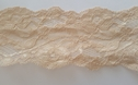 Beige Stretch Lace Double Scalloped Rose Trim 2 3/4