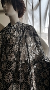 Black and White Floral Embossed 2 ways Stretch lace Fabric 58 Inches