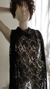 Black Fabric Embossed Double Scalloped 4 ways Stretch lace 58 inch Wide