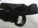 Black faux leather patent elastic belt  32 1/2 inches wide.